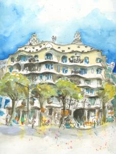 La Pedrera, Villa Mia, Barcelona, Kolorierte Zeichnung