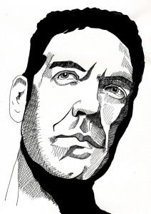 Beispiel einer Zeichnung, Portrait, Tuschezeichnung auf Papier, DIN A4