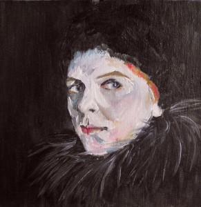 Portrait einer Frau mit Federkragen und rotem Haar in Öl auf Malpappe mit Leinwand bespannt, 15 x 15 cm