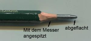 Mit dem Messer angespitzter Bleistift
