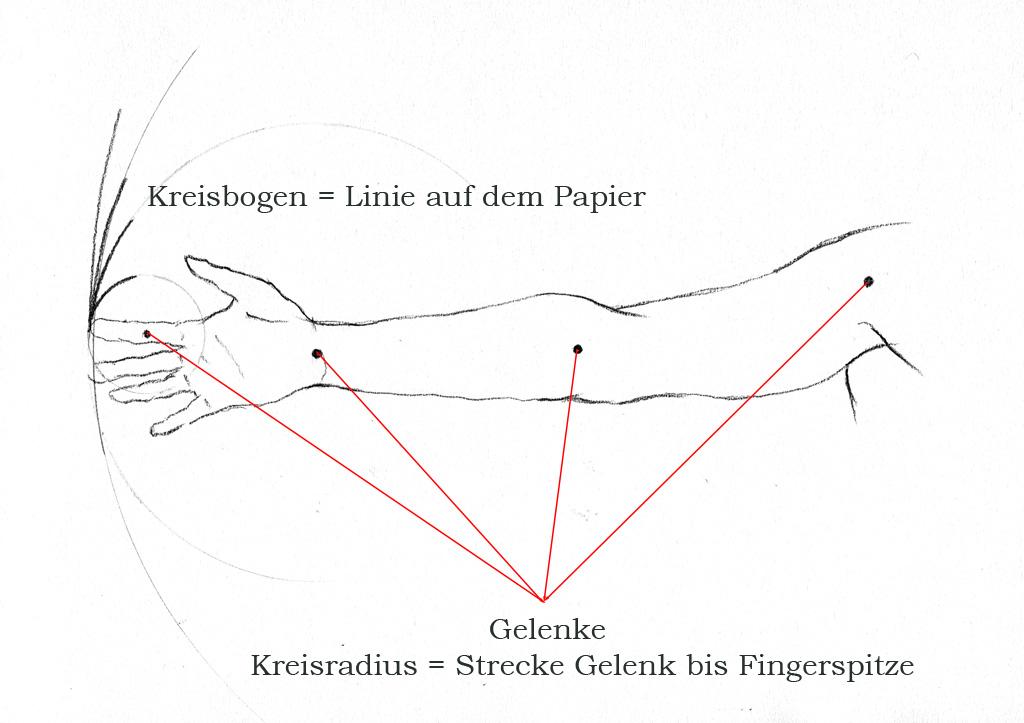 Linien Zeichnen, Abbildung Arm
