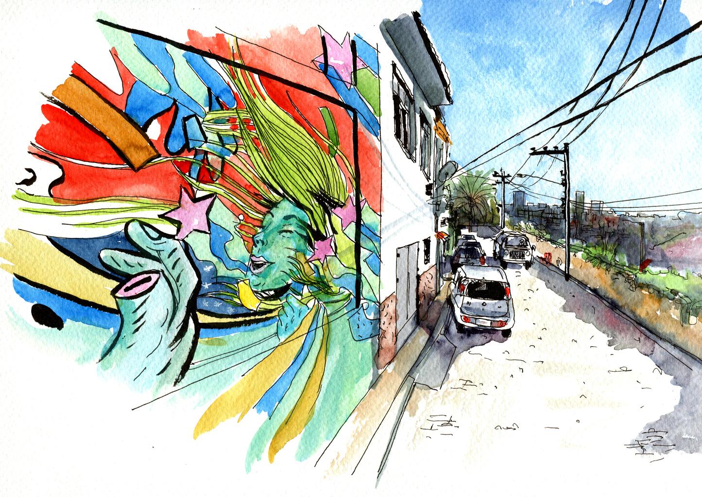 Straße mit Mural in Rio de Janeiro