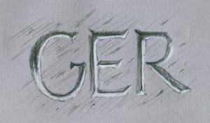 Schriften auf grauem Papier