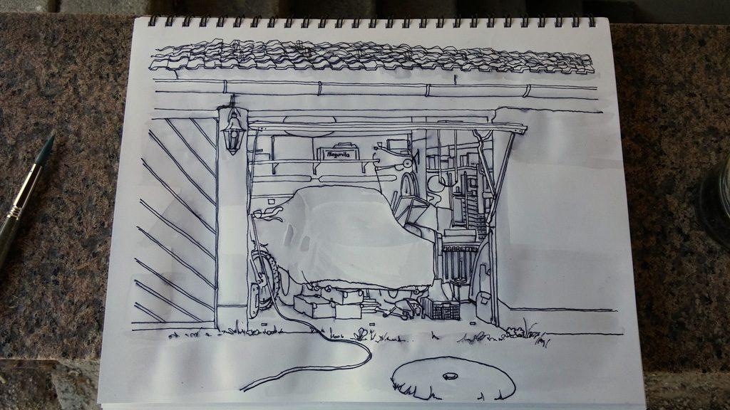 kolorierte Zeichnung einer Garage in Grisaille Technik 1. Stufe