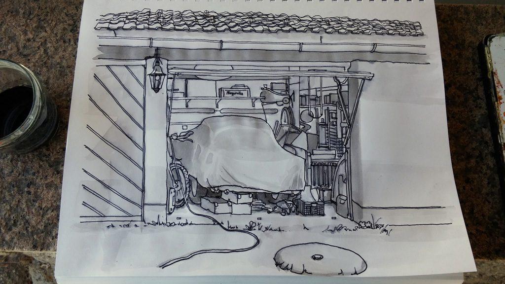 kolorierte Zeichnung einer Garage in Grisaille Technik 2. Stufe