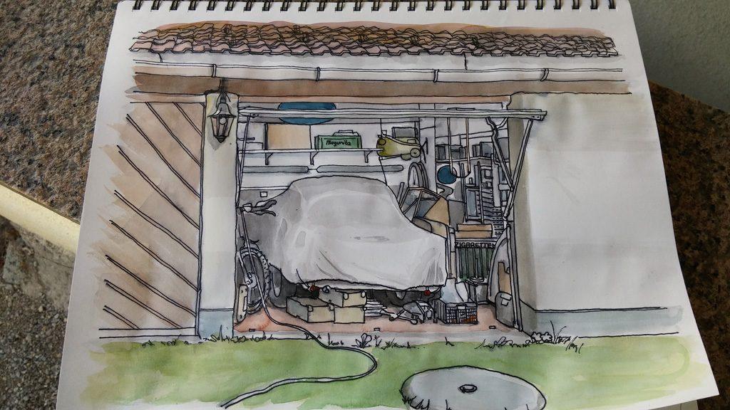 kolorierte Zeichnung einer Garage in Grisaille Technik