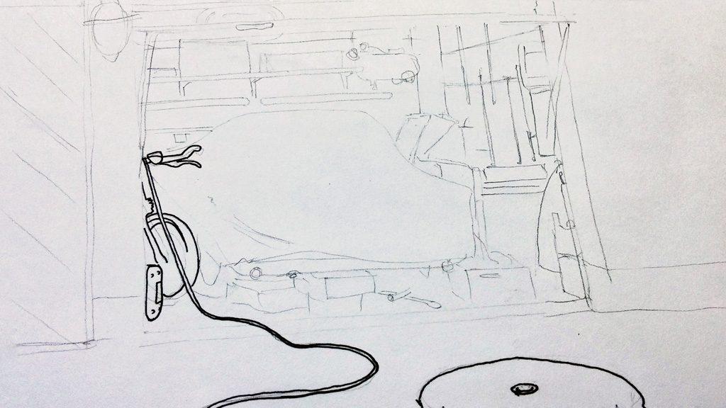 kolorierte Zeichnung einer Garage in Grisaille Technik, Vorzeichnung