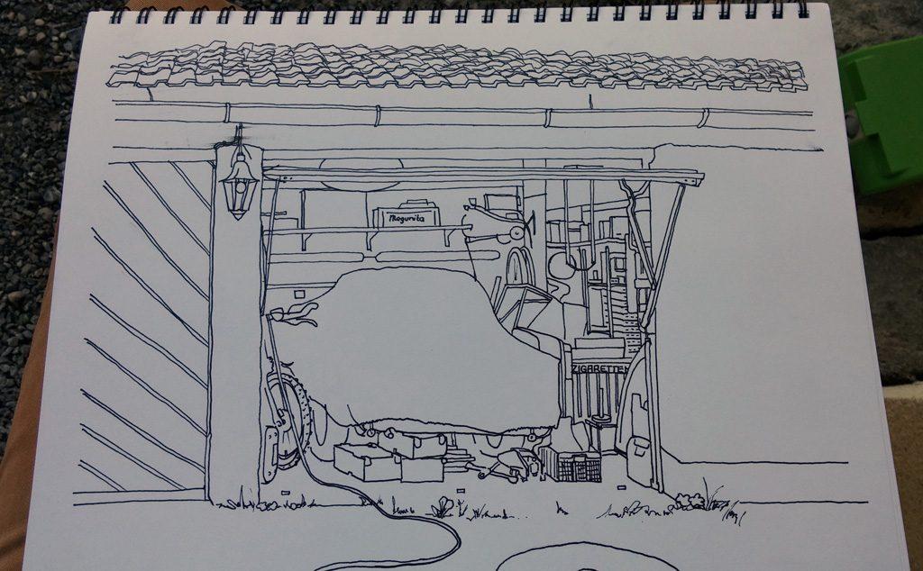 kolorierte Zeichnung einer Garage in Grisaille Technik, Strichzeichnung