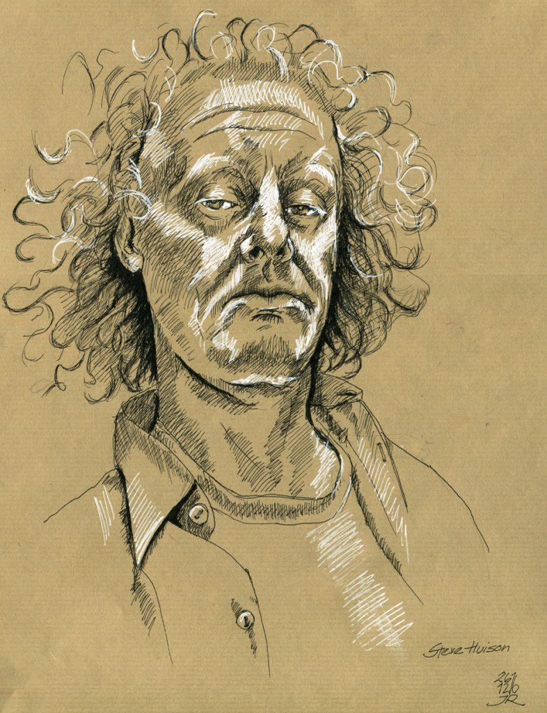 Portrait Tonwerte, mittlerer Tonwert - Papier, Höhung (Lichter) durch Gelmarker und Tiefen durch schwarze Tusche