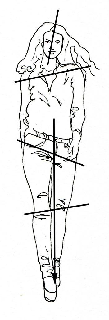 Darstellung von Kontrapost und Schwerpunkt in einer Figur