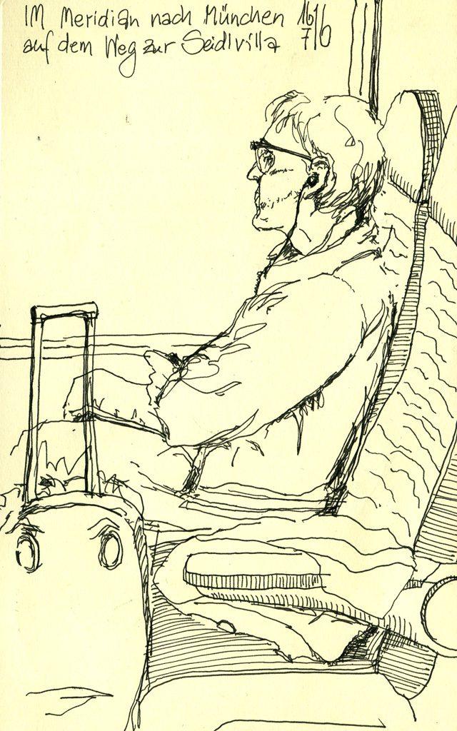 Zeichnung eines Mannes im Zug